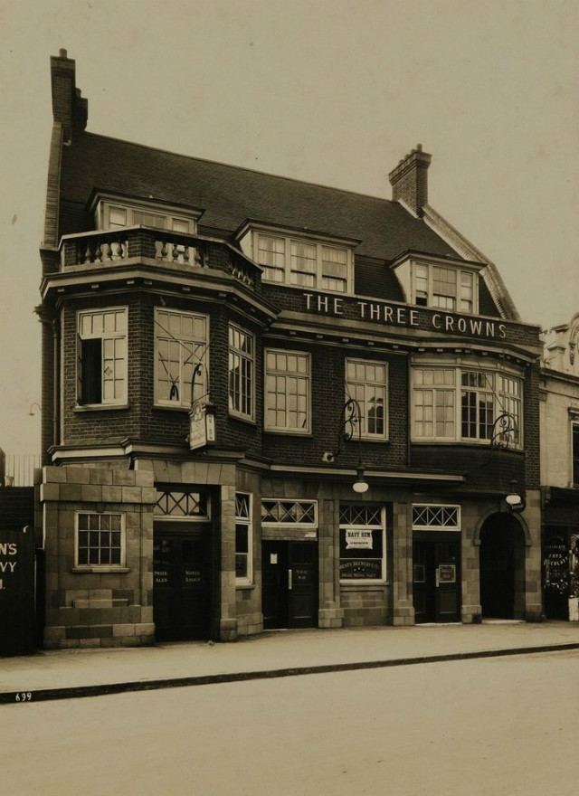 Three Crowns, viewed from Pier Road, unknown date, National Brewery Heritage Trust [http://www.closedpubs.co.uk/london/e16_northwoolwich_threecrowns.html].